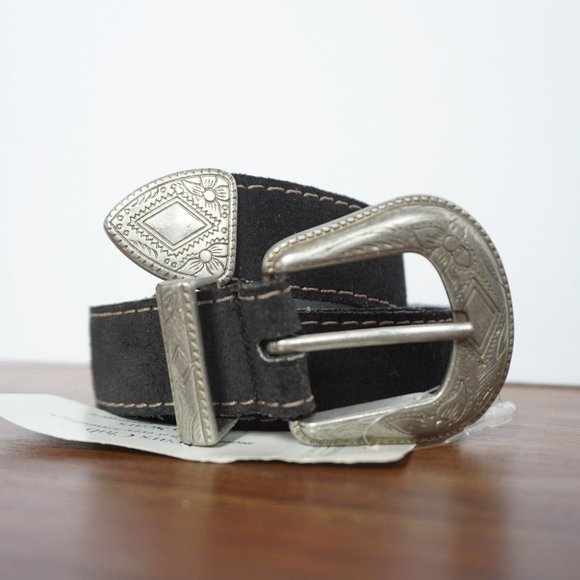 Vintage 90s Leather Belt with Silver Etched Buckle